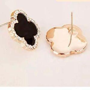 Luxury 18K Gold Plated  15m 4 Leaf Clover Earrings